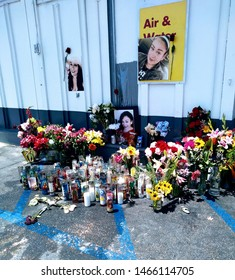 LOS ANGELES - July 29, 2019:  Gang shooting victim remembered at makeshift memorial shrine at the gas station where she was killed.