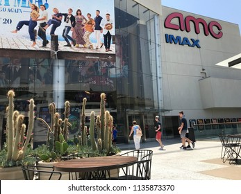 LOS ANGELES, JULY 7, 2018: People walking toward the AMC Century City theaters at the Westfield shopping mall in Century City.