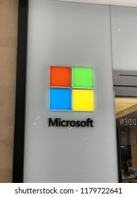LOS ANGELES, JULY 7, 2018: Close up of the Microsoft logo at the Microsoft store at the Westfield Century City mall.