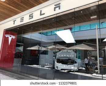 LOS ANGELES, JULY 7TH 2018: Exterior of the Tesla car store at the Westfield shopping mall in Century City.