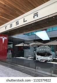 LOS ANGELES, JULY 7TH 2018: Exterior of the Tesla showroom at the Westfield shopping mall in Century City.