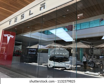 LOS ANGELES, JULY 7TH 2018: Exterior of the Tesla Motors store at the Westfield shopping mall in Century City.