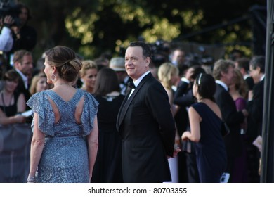 LOS ANGELES - JULY 9: Couple Tom Hanks and Rita Wilson arriving at the Belasco Theatre July 9, 2011 for the reception for the Duke and Duchess of Cambridge Los Angeles, CA.