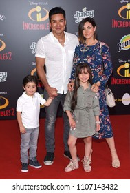 "LOS ANGELES - JUN 05:  Mario Lopez, Dominic Lopez, Gia Francesca Lopez and Courtney Laine Mazza arrives to the ""Incredibles 2"" World Premiere  on June 5, 2018 in Hollywood, CA"