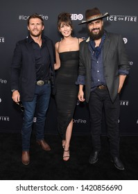 LOS ANGELES - JUN 05:  Scott Eastwood, Jonah Johnson and Shelby Bullard arrives for the HBO 'Ice On Fire' Premiere on June 05, 2019 in Hollywood, CA