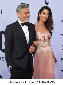LOS ANGELES - JUN 07:  George Clooney and Amal Clooney arrives for the AFI Lifetime Achievement Awards to George Clooney on June 07, 2018 in Hollywood, CA