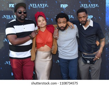 "LOS ANGELES - JUN 08:  Brian Tyree Henry, Zazie Beetz, Donald Glover and Lakeith Stanfield arrives to the ""Atlanta"" Robbin Season FYC Event  on June 8, 2018 in Hollywood, CA"