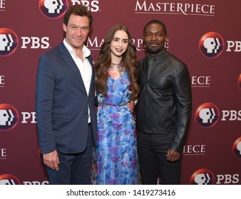 LOS ANGELES - JUN 08:  Dominic West, Lily Collins and David Oyelowo arrives for the Masterpiece's 'Les Miserables' Photo Call on June 08, 2019 in Hollywood, CA