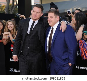 "LOS ANGELES - JUN 09:  Channing Tatum & Jonah Hill arrives to the ""22 Jump Street"" World Premiere  on June 09, 2014 in North Hollywood, CA"
