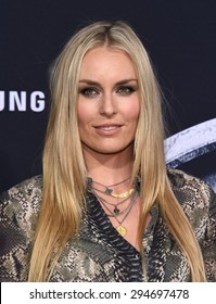 """LOS ANGELES - JUN 09:  Lindsey Vonn arrives to the """"Jurassic World"""" World Premiere  on June 9, 2015 in Hollywood, CA"""