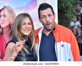 LOS ANGELES - JUN 10:  Jennifer Aniston and Adam Sandler arrives for the Netflix 'Murder Mystery' Premiere on June 10, 2019 in Westwood, CA