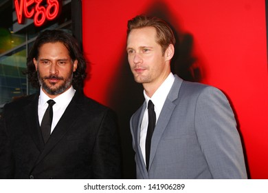 "LOS ANGELES - JUN 11:  Joe Manganiello, Alexander Skarsgard arrives at the  ""True Blood"" Season 6 Premiere Screening at the ArcLight Hollywood Theaters on June 11, 2013 in Los Angeles, CA"