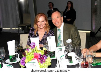 LOS ANGELES - JUN 11: Marg Helgenberger, David Rambo at The Actors Fund's 22nd Annual Tony Awards Viewing Party at the Skirball Cultural Center on June 10, 2018 in Los Angeles, CA
