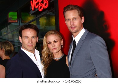 "LOS ANGELES - JUN 11:  Stephen Moyer, Anna Paquin, Alexander Skarsgard arrives at the  ""True Blood"" Season 6 Premiere Screening at the ArcLight Hollywood Theaters on June 11, 2013 in Los Angeles, CA"