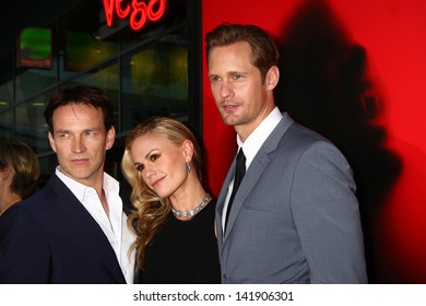 """LOS ANGELES - JUN 11:  Stephen Moyer, Anna Paquin, Alexander Skarsgard arrives at the  """"True Blood"""" Season 6 Premiere Screening at the ArcLight Hollywood Theaters on June 11, 2013 in Los Angeles, CA"""