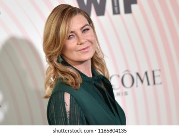 LOS ANGELES - JUN 13:  Ellen Pompeo arrives for the WIF 2018 Crystal + Lucy Awards on June 13, 2018 in Beverly Hills, CA