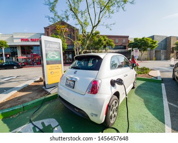 Los Angeles, JUN 15: The Fiat 500e Electric Vehicle is charging at the station on JUN 15, 2019 at Los Angeles, California