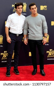 LOS ANGELES - JUN 16:  Ethan Dolan, Grayson Dolan at the 2018 MTV Movie And TV Awards at the Barker Hanger on June 16, 2018 in Santa Monica, CA