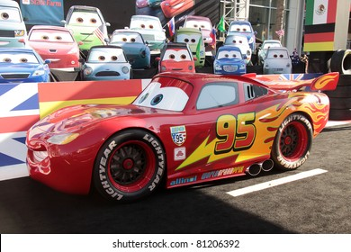 """LOS ANGELES - JUN 18:  LIGHTNING McQUEEN arrives to the """"Cars 2"""" World Premiere  on June 18,2011 in Hollywood, CA"""
