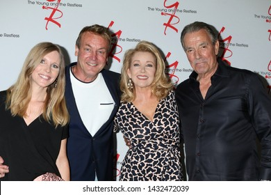 LOS ANGELES - JUN 23:  Lauralee Bell, Doug Davidson, Melody Thomas Scott, Eric Braeden at the Y & R Fan Club Luncheon at the Marriott Burbank Convention Center on June 23, 2019 in Burbank, CA