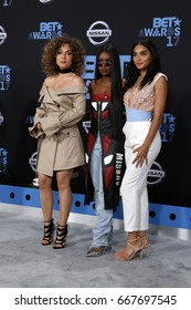 LOS ANGELES - JUN 25:  Jude Demorest, Ryan Destiny, Brittany OGrady at the BET Awards 2017 at the Microsoft Theater on June 25, 2017 in Los Angeles, CA