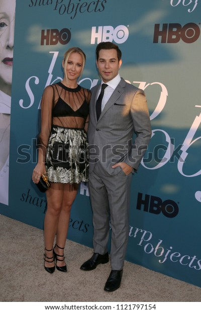 """LOS ANGELES - JUN 26:  Anna Camp, Skylar Astin at the """"Sharp Objects"""" HBO Premiere Screening at the ArcLight Theater on June 26, 2018 in Los Angeles, CA"""