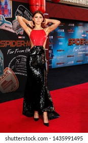 "LOS ANGELES - JUN 26:  Zendaya at the ""Spider-Man Far From Home"" Premiere at the TCL Chinese Theater IMAX on June 26, 2019 in Los Angeles, CA"
