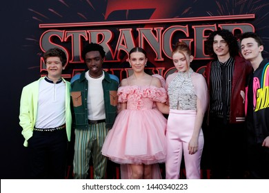 "LOS ANGELES - JUN 28: Cast Members at the ""Stranger Things"" Season 3 World Premiere at the Santa Monica High School on June 28, 2019 in Santa Monica, CA"
