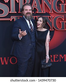 LOS ANGELES - JUN 28:  David Harbour and Winona Ryder arrives for the Netflix 'Stranger Things' Season 3 Premiere on June 28, 2019 in Santa Monica, CA