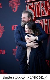 "LOS ANGELES - JUN 28:  David Harbour, Winona Ryder at the ""Stranger Things"" Season 3 World Premiere at the Santa Monica High School on June 28, 2019 in Santa Monica, CA"