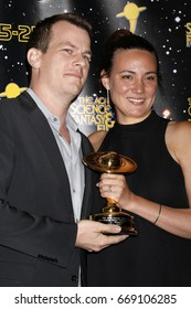 LOS ANGELES - JUN 28:  Jonathan Nolan, Lisa Joy at the 43rd Annual Saturn Awards - Press Room at the The Castawa on June 28, 2017 in Burbank, CA