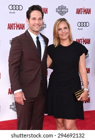 "LOS ANGELES - JUN 29:  Paul Rudd & Julie Yaeger arrives to the ""Ant-Man"" World Premiere  on June 29, 2015 in Hollywood, CA"
