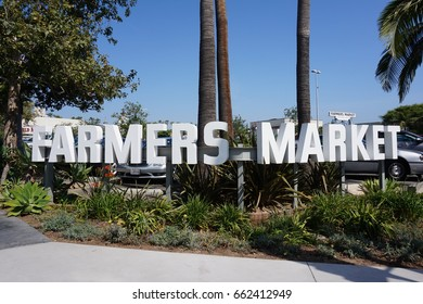 LOS ANGELES, JUN 3RD, 2017: Close up of the famous Farmers Market sign at the entrance to the historic Farmers Market near The Grove shopping mall in Los Angeles, California.