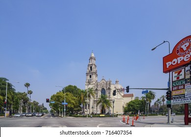 Los Angeles , JUN 4: St Exterior view of the historical Vincent Catholic Church on JUN 4, 2017 at Los Angeles, California