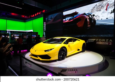 LOS ANGELES - JUNE 12: Microsoft introducing Forca Horizon 2 for Xbox One and 360 with a Lamborghini Huracan at E3 2014, the Expo for video games on June 12, 2014 in Los Angeles