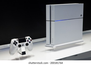 LOS ANGELES - JUNE 12:  Sony unveiling white PlayStation 4 model for the first time at E3 2014, the Expo for video games on June 12, 2014 in Los Angeles