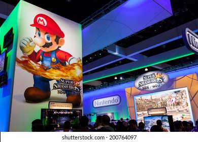 LOS ANGELES - JUNE 12: Super Mario and Super Smash Bros for wii at Nintendo booth at E3 2014, the Expo for video games on June 12, 2014 in Los Angeles