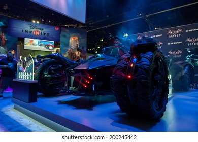 LOS ANGELES - JUNE 12: Warner Bros teases Batman Arkham Knight videogame with a 1:1 replica of the newly designed Bat Mobile at E3 2014, the Expo for video games on June 12, 2014 in Los Angeles