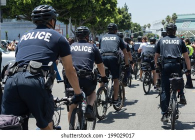 LOS ANGELES - JUNE 16, 2014: Police on the street during the LA Kings Stanley Cup Parade Celebration on June 16, 2014 in Los Angeles,CA
