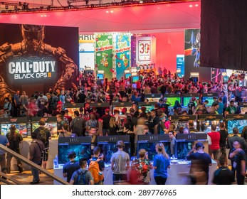 LOS ANGELES - June 16, 2015: Crowds of people at E3 2015 expo in Convention Center. Electronic Entertainment Expo, commonly known as E3, is an annual trade fair for the computer video game industry.