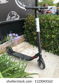 LOS ANGELES, JUNE 16, 2018: A Bird scooter stands abandoned on a sidewalk in Culver City, California.
