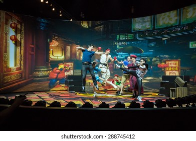 LOS ANGELES - June 16: Street Fighter photo op with bullet time rig E3 2015 expo. Electronic Entertainment Expo, commonly known as E3, is an annual trade fair for the video game industry