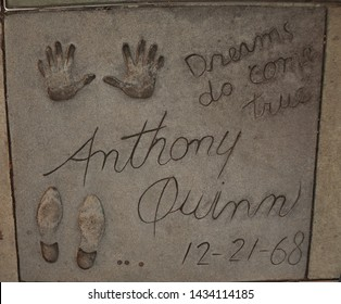 Los Angeles - June 17, 2019: Anthony Quinn footprints at Chinese Theatre forecourt