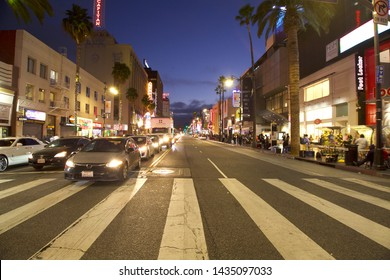 Los Angeles - June 19, 2019: Hollywood Blvd. at Highland Ave.