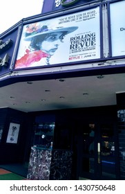 """LOS ANGELES - June 20, 2019:  Theatre marquee for the documentary  film '""""Rolling Thunder Review - A Bob Dylan Story by Martin Scorsese"""" in limited theatrical release."""