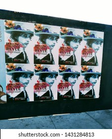 """LOS ANGELES - June 20, 2019: Street posters  for the documentary  film '""""Rolling Thunder Review - A Bob Dylan Story by Martin Scorsese"""" in limited theatrical release."""