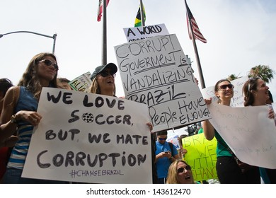 LOS ANGELES - JUNE 23 : Brazilians protesting against corruption in Brazil in front of the Brazilian consulate on June, 23 2013 in Los Angeles, CA.