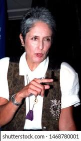 LOS ANGELES - June 27, 1992:  Singer Joan Baez leaves Spago restaurant.