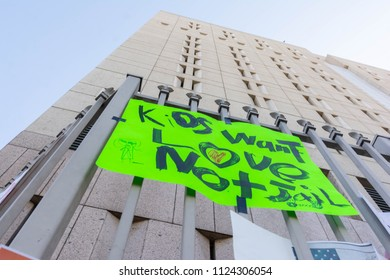 Los Angeles, June 30, 2018: Posters around the Metropolitan Detention Center in protest of President Donald Trump's zero tolerance immigration policy.