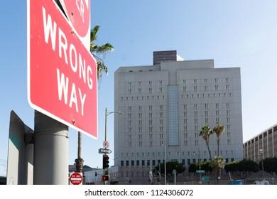 Los Angeles, June 30, 2018: Metropolitan Detention Center building during The Families Belong Together march